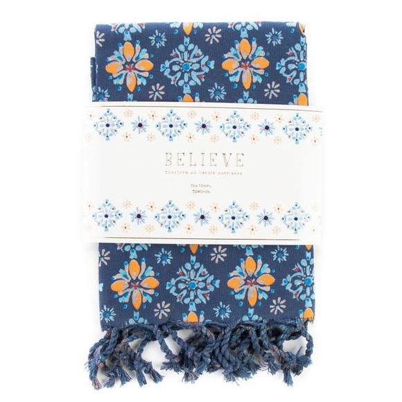 xoxo, dominique Other - XOXO, Dominique Navy Floral Tea Towel